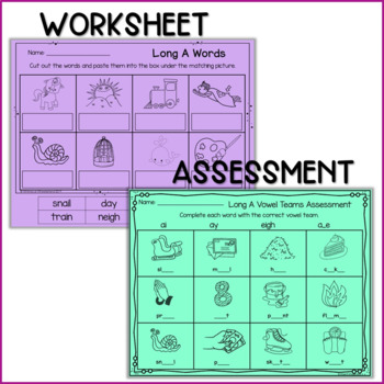 Long Vowel A Worksheets and Activities NO PREP