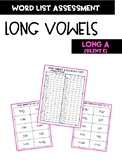 Long Vowel A with silent e Word Assessment