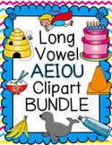 Long Vowel AEIOU Clipart BUNDLE- Color & BW
