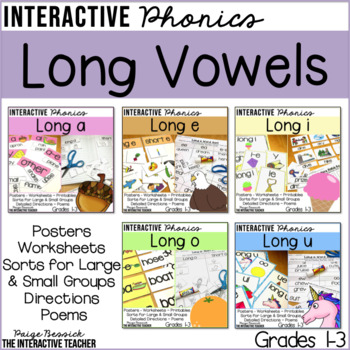 Long Vowel Word Work Activities Bundle - Posters, Sorts, Worksheets & Poems