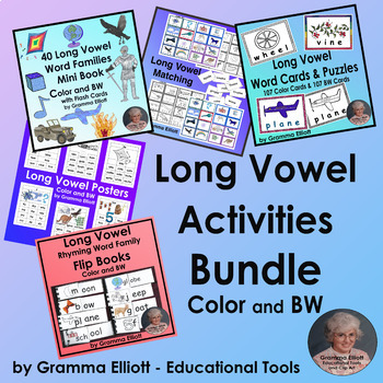 Long Vowel Bundle of Word Family Activities  Color and BW