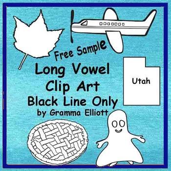 Long Vowel Black Line Clip Art Sample Freebie - 5 Images