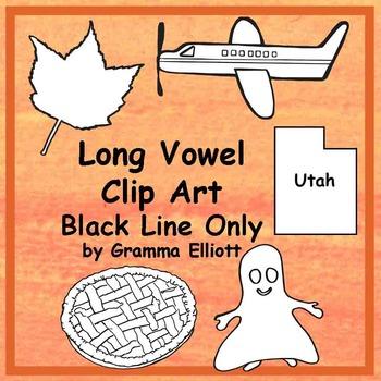 Clip Art - Realistic Phonics Long Vowel - Black Line Bundle -147 images