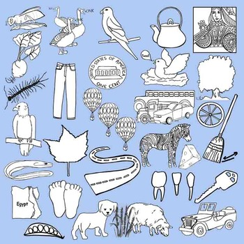 Long Vowel Clip Art Collection 147 Realistic BLACK LINE CLIPS ONLY