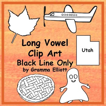 Clip Art - Realistic Phonics Long Vowel - Black Line Bundl