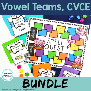 Long Vowel Board Games Bundle with QR Codes