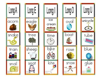 Long Vowel Book Markers