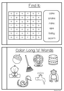 Long Vowel Booklets