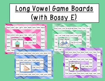 Long Vowel - Bossy E Game Boards