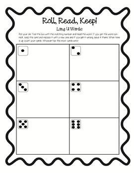Long Vowel Bundle!!- Roll, Read, Keep!