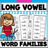 Long Vowel CVC-E Word Family Phonics Practice Printables (A,I,O,&U)