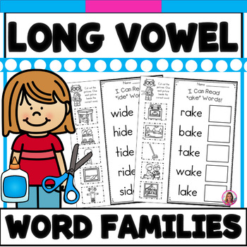 Long Vowel CVC-E Word Family Phonics Practice Printables (A,I,O,&U)