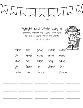 Long Vowel CVCe Phonics Packet