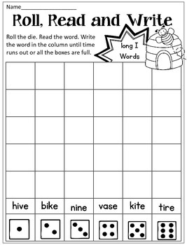 Long Vowel CVCe Read Roll Write Dice Game