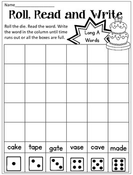 Long Vowel CVCe Read Roll Write Dice Game