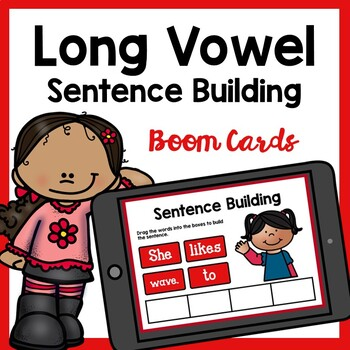 Long Vowel CVCe Sentence Building Boom Cards | Distance Learning