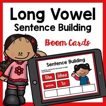 Long Vowel CVCe Sentence Building Boom Cards | Distance Learning