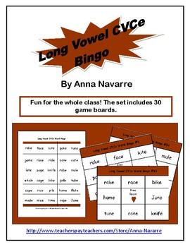 Long Vowel CVCe Word Bingo w/30 Boards