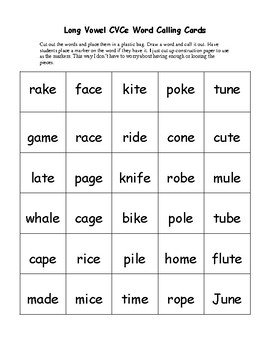Long Vowel CVCe Word Bingo w/30 Boards