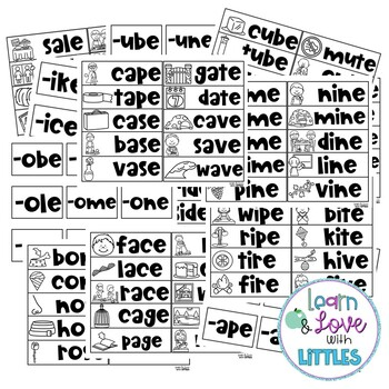 Long Vowel CVCe Word Family Pocket Chart Center
