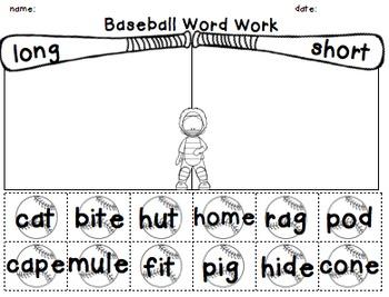 Long Vowel CVCe Word Work