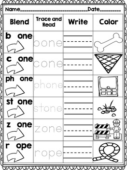 Long Vowel CVCe Word Work! Blend it! Trace it! Read it! Write it! Color it!
