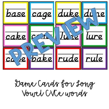 Long Vowel CVCe Words Colored Block Game Cards