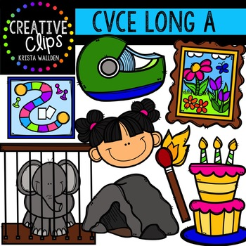 Long Vowel Clipart: CVCE A Words {Creative Clips Digital Clipart}