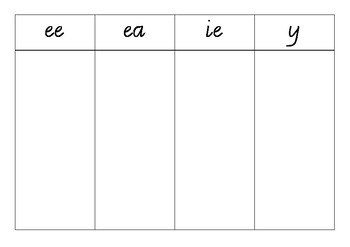 Long Vowel Collection Tables