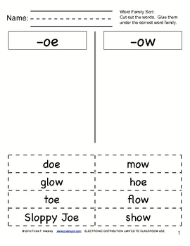 Word Sorts: Cut & Paste Long O Words, Part 2 (CCSS Aligned)