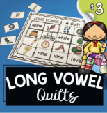 Long Vowel Cut and Paste Quilts - Vowel Teams - Magic E Words - Worksheets