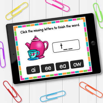 Long Vowel Digraphs Clip Cards for Phonics Centers and Phonics Activities