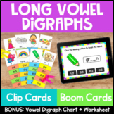 Phonics Centers and Activity: Long Vowel Digraphs Clip Cards- AI AY EA EE OA OW