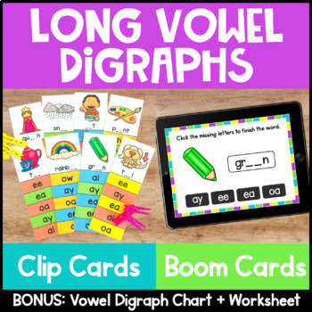 Long Vowel Digraphs Clip Cards for Phonics Centers and Pho