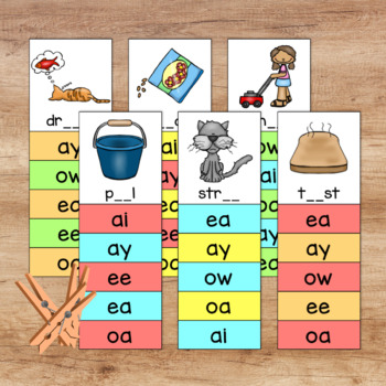 Phonics Activity: Long Vowels Digraphs Free Phonics Clip Cards