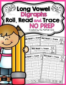 Long Vowel Digraphs Roll, Read and Trace! NO PREP