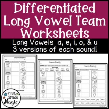 Long Vowel Digraphs Worksheets for Word Work {DIFFERENTIATED}