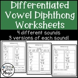Long Vowel Diphthongs Worksheets for Word Work {DIFFERENTIATED}