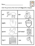 Long Vowel Discrimination Coloring Sheets