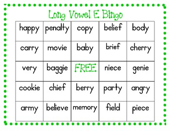 Long Vowel E Bingo---Spelled with -y and -ie