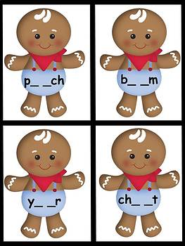 Long Vowel E - Gingerbread Christmas Theme