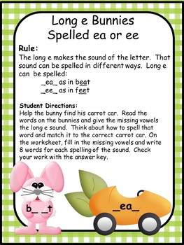 Long Vowel E Vowel Teams EE & EA Spelling Patterns
