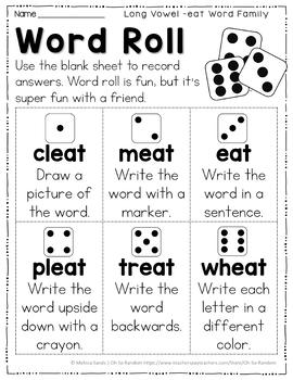 Long Vowel E Word Work {-eat Word Family}