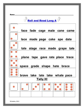 Long Vowel Final  e Roll and Read