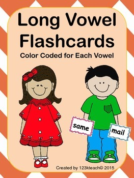 Long Vowel Flashcards~Color Coded for each vowel
