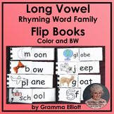 Long Vowel Rhyming Word Family Flip Books cvce and double vowels in Color and BW