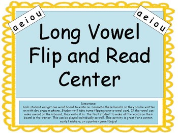 Long Vowels Flip and Read Center