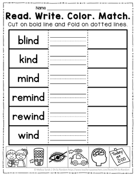 Long Vowel I Word Work {-ind Word Family}