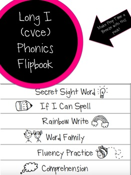 Long Vowel I (cvce) phonics Flipbook #2 - Great for Interventions!