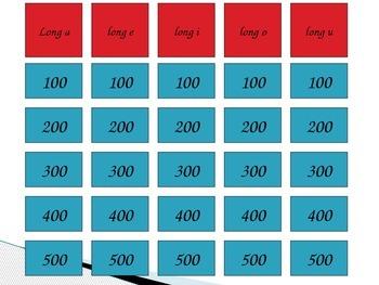 Long Vowel Jeopardy
